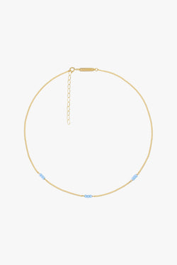 Triple blue beads necklace gold plated