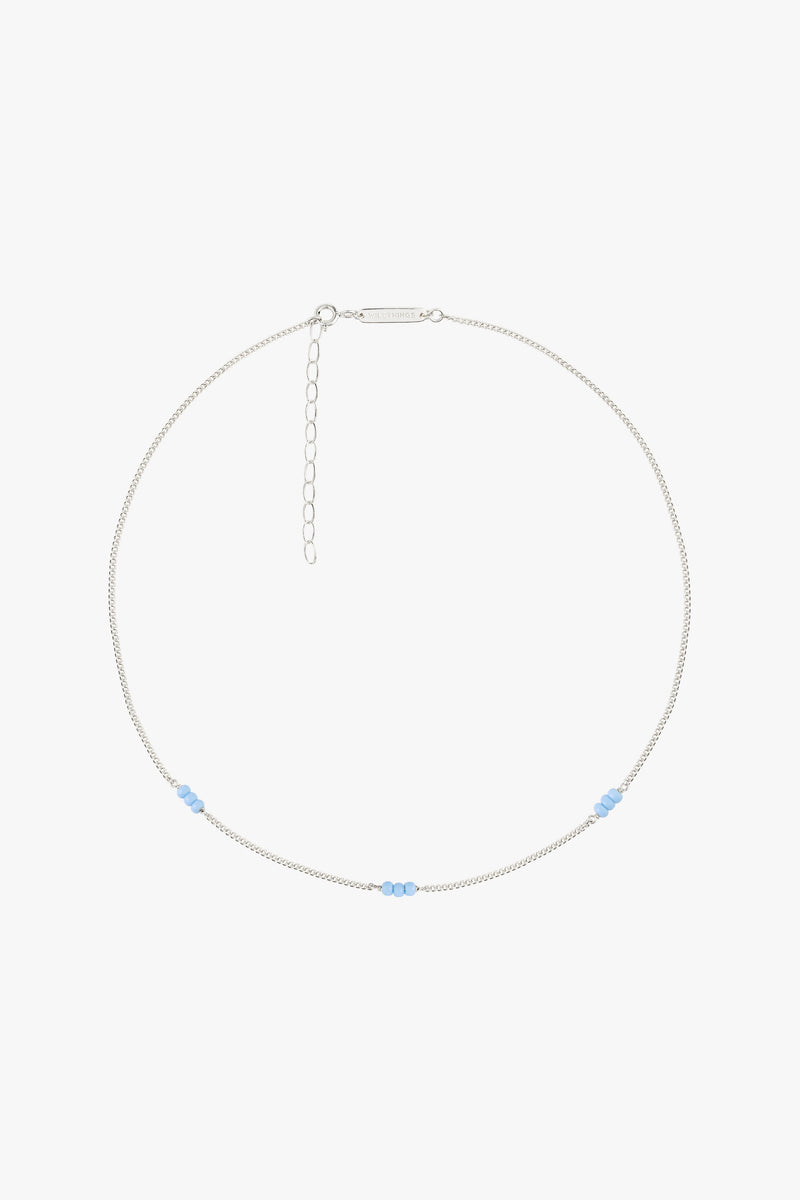Triple blue beads necklace silver