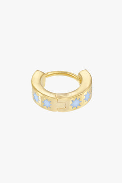 Blue sky star huggie gold plated