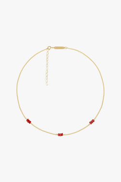 Triple red beads necklace gold plated