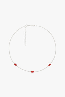 Triple red beads necklace silver