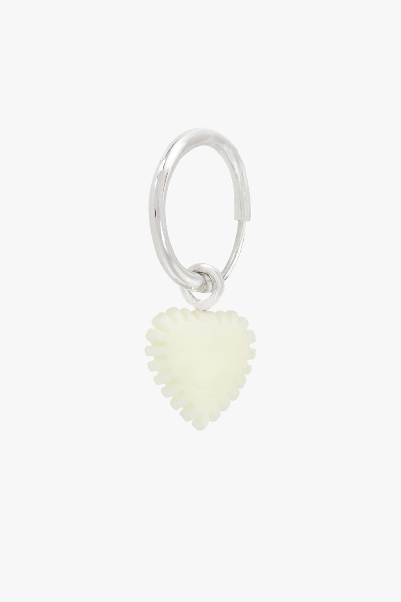 Ivory color heart earring silver