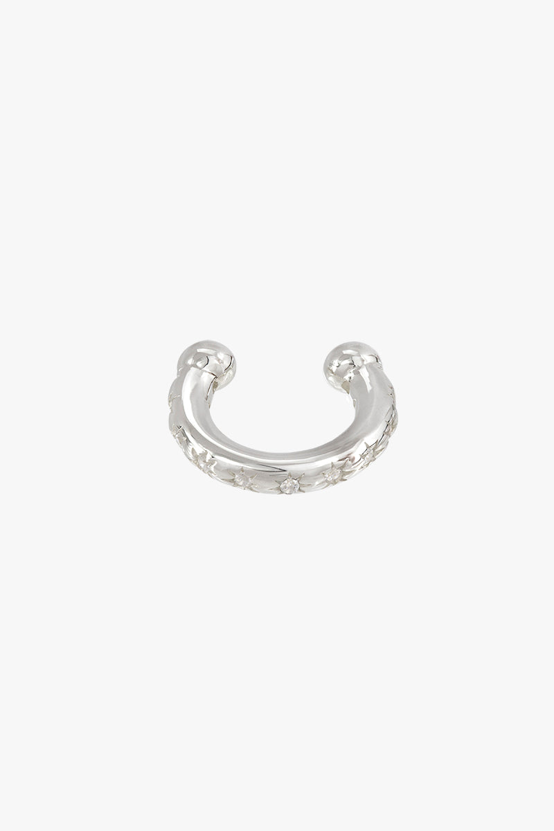 Shiny star ear cuff silver