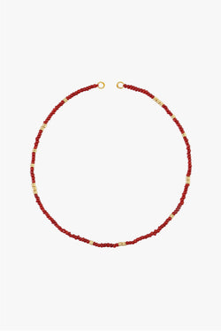 Berry red clasp necklace gold plated