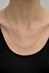 Middle snake necklace 14k solid gold (48cm)