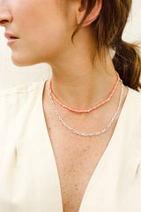 Pink sky necklace silver (37 cm)