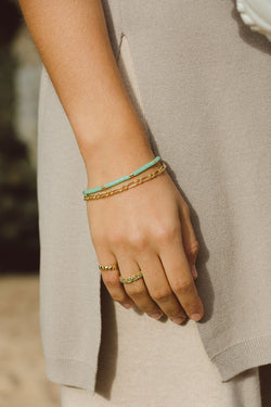 Sea green bracelet gold plated