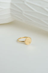 Yin yang coin ring gold plated