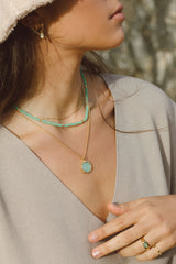 Sea green necklace gold