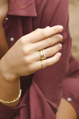 Hammered stacking ring gold