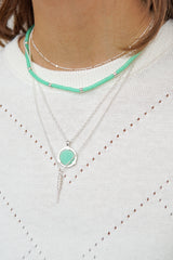 Sea green necklace silver