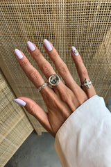 Palm leafs pinky ring silver