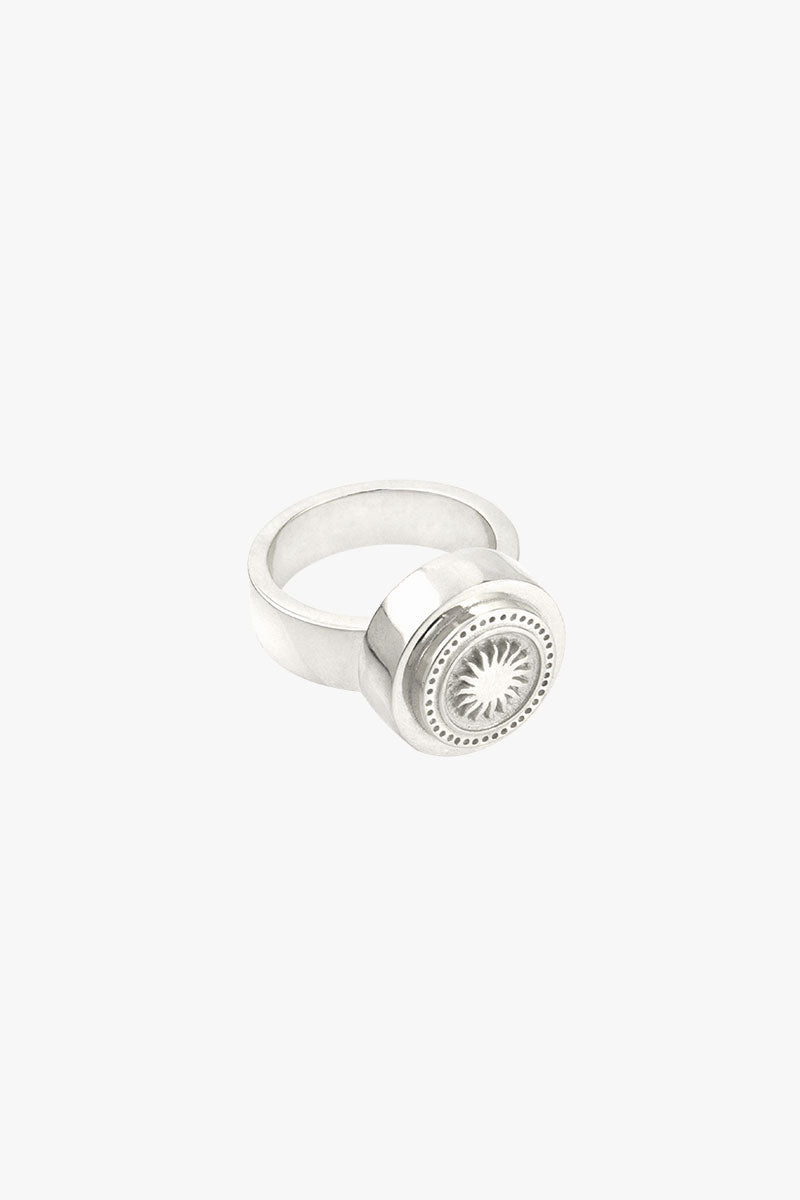Rising sun pinky ring silver