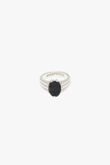 Black scarab pinky ring silver