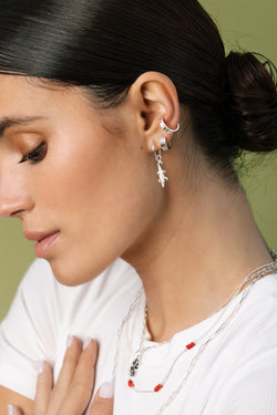 Wide detailed ear cuff silver