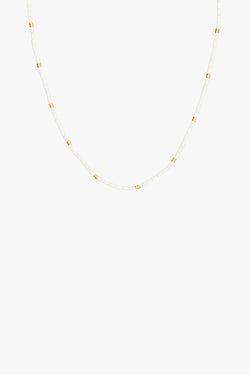 Ivory color necklace gold plated (35 cm)