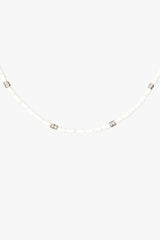 Ivory color necklace silver (35 cm)