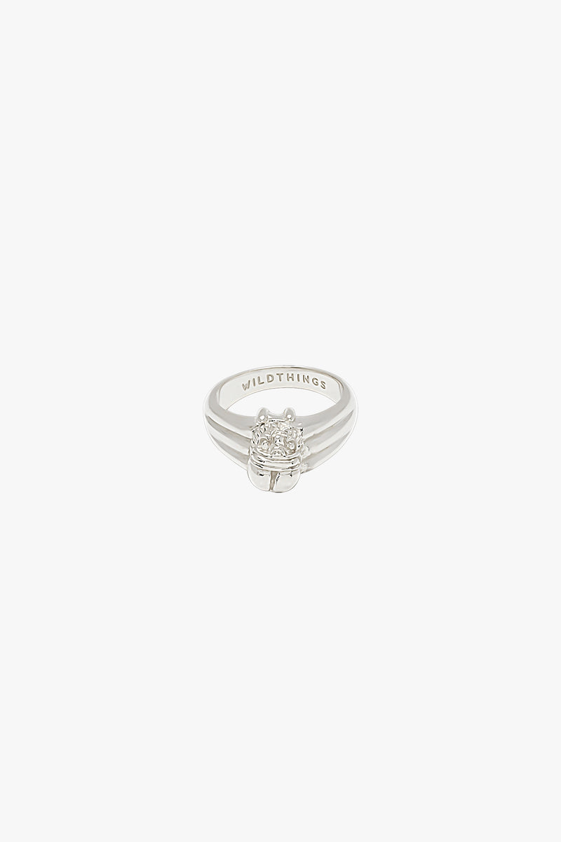 Scarab pinky ring silver