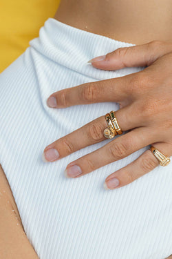 Bamboo ring gold plated