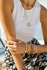 Coral color bracelet gold