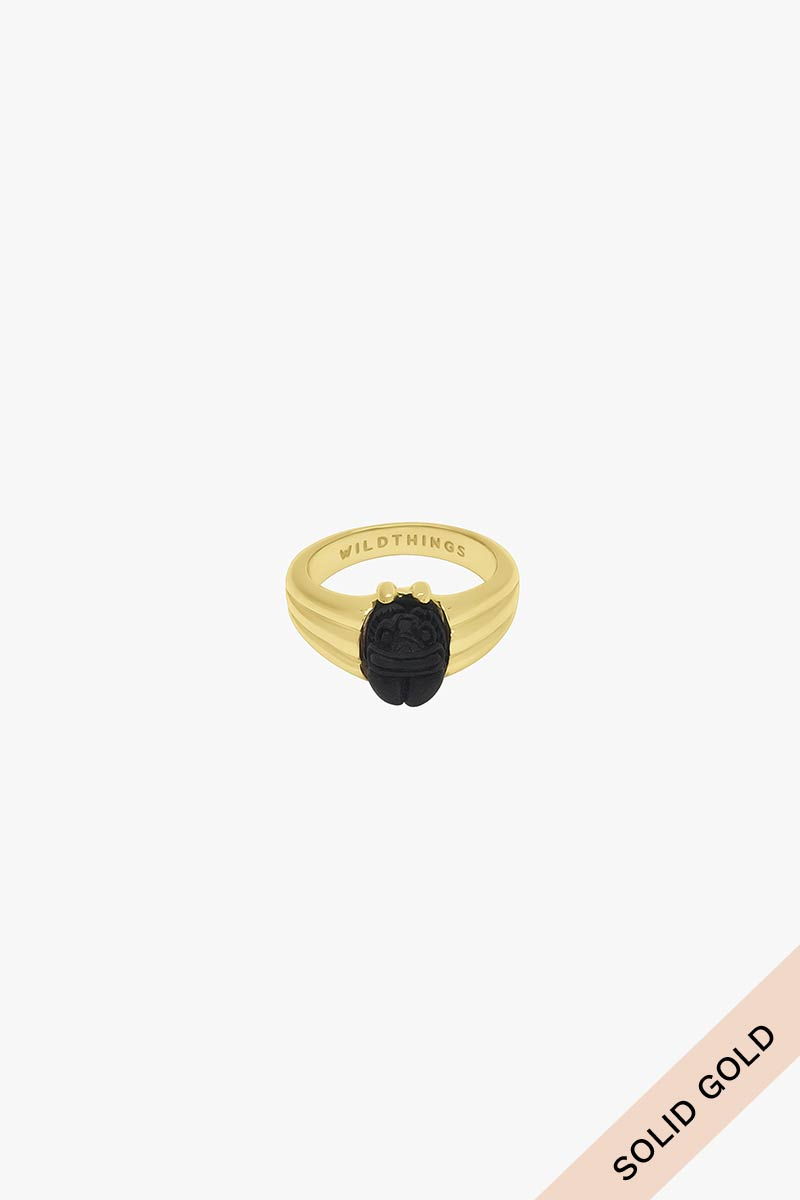 Black scarab pinky ring gold 14k solid gold