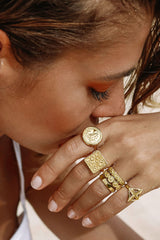 Five strand braided ring gold