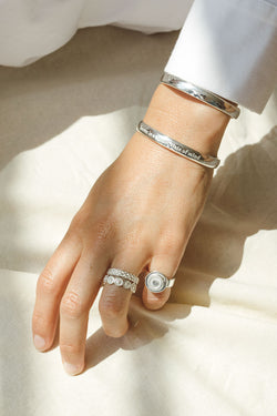 Five strand braided ring silver