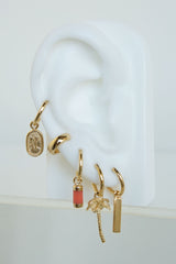 Palm tree earring gold plated