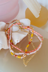 Pink sky necklace gold