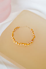 Yellow flower anklet silver
