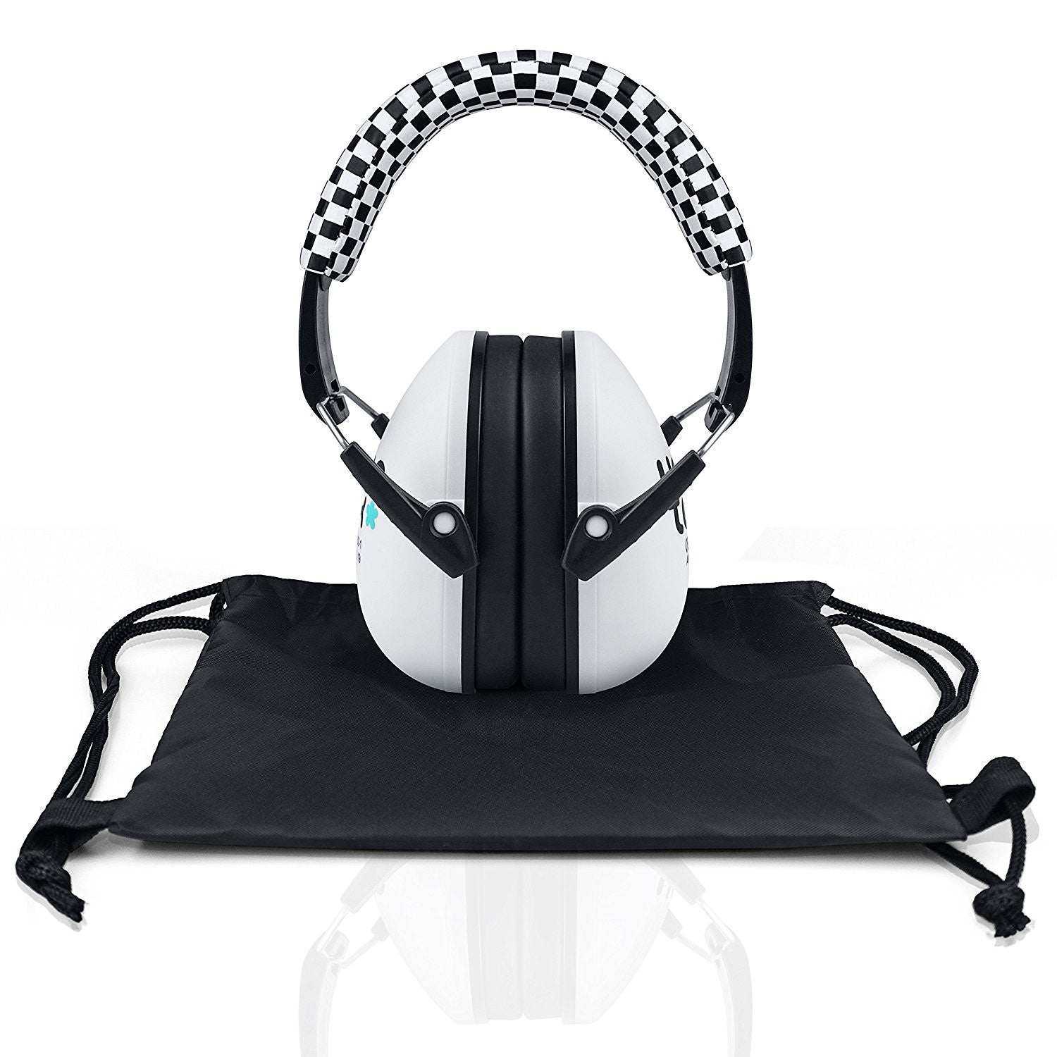 Sporty White Senna Earmuffs Hearing Protection with Travel Bag