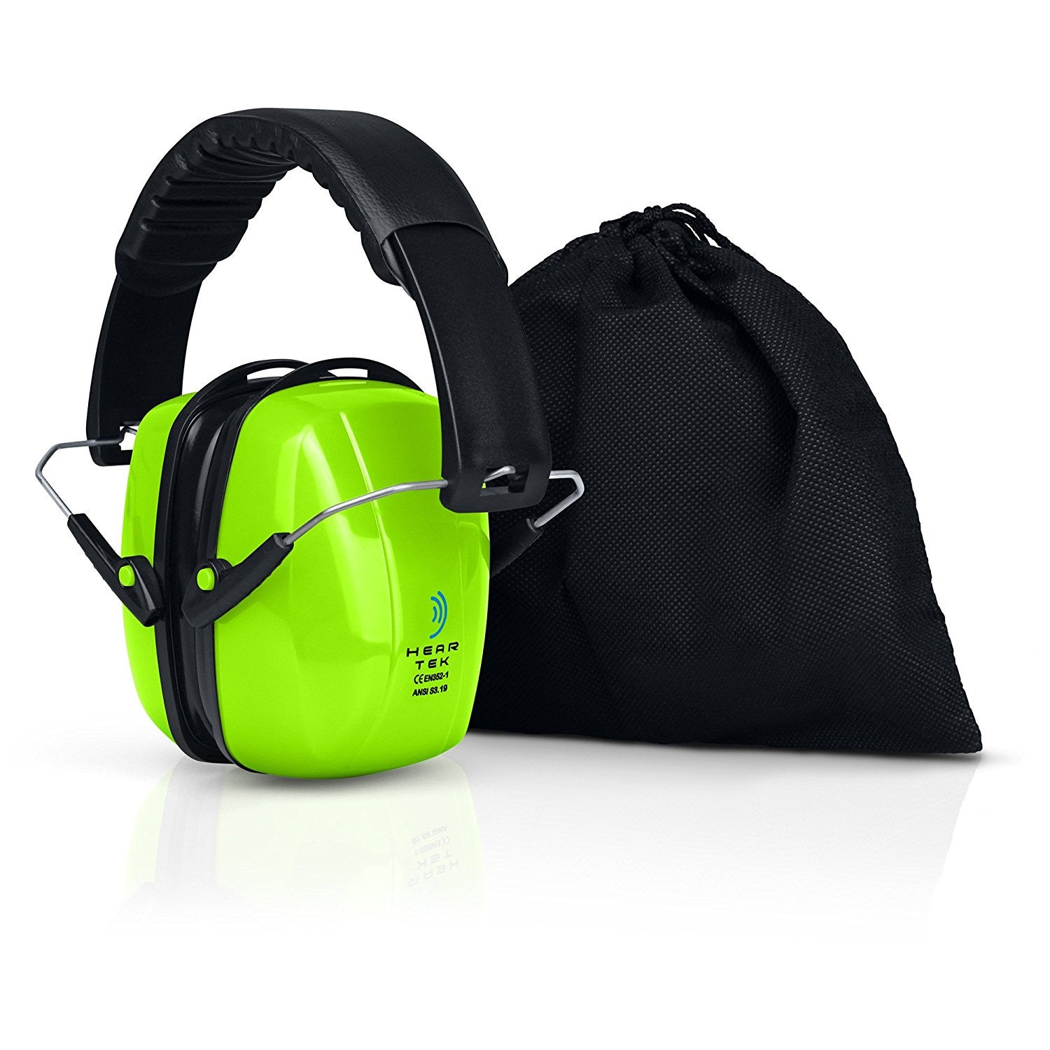 Safety Ear Muffs Adjustable Adult Size Noise Canceling Ear Hearing Protection Green