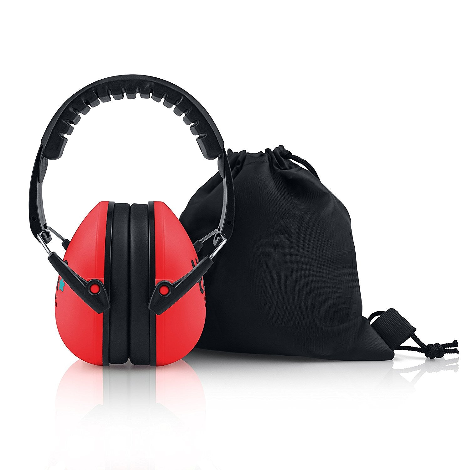 Glowing Red Senna Earmuffs Hearing Protection with Travel Bag