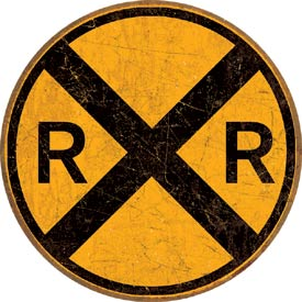 Tin Sign - Railroad Crossing