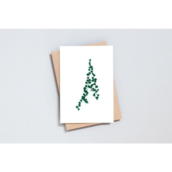 Ola Foil Blocked Card, String of Pearls Print in Ivory/Green