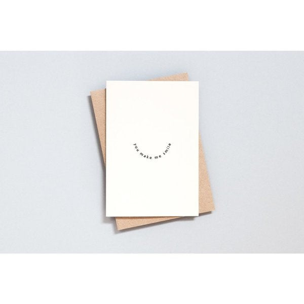 Ola Foil Blocked Card, You Make Me Smile Print in Natural/Black