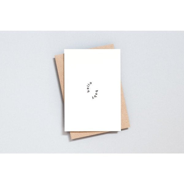 Ola Foil Blocked Card, Hello Baby Print in Natural/Black