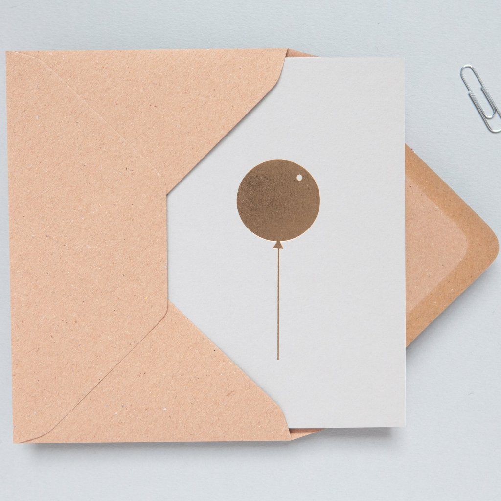 Ola Foil Blocked Card, Balloon Print in Light Grey/Brass