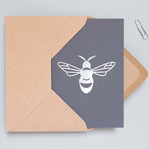 Ola Foil Blocked Card, Bee Print in Silver/Grey