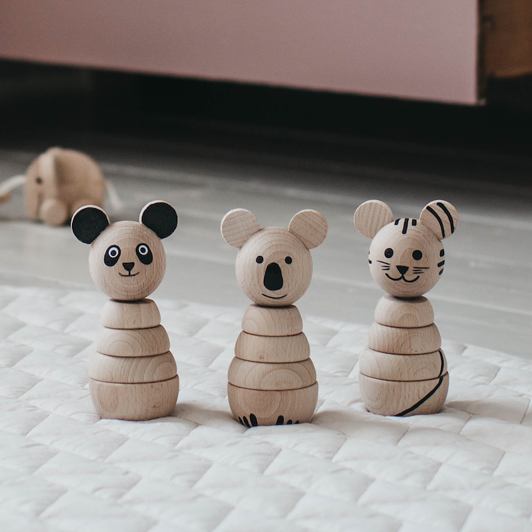 Sarah & Bendrix Koala Or Tiger - Wooden Stacking Toy