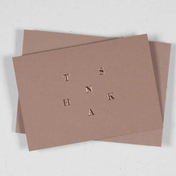 Ola Foil Blocked Card, So Grateful Print in Sand/Rose Gold