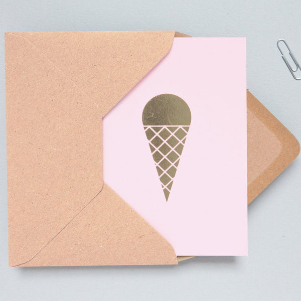 Ola Foil Blocked Card, In Ice Cream Print in Pink/Brass