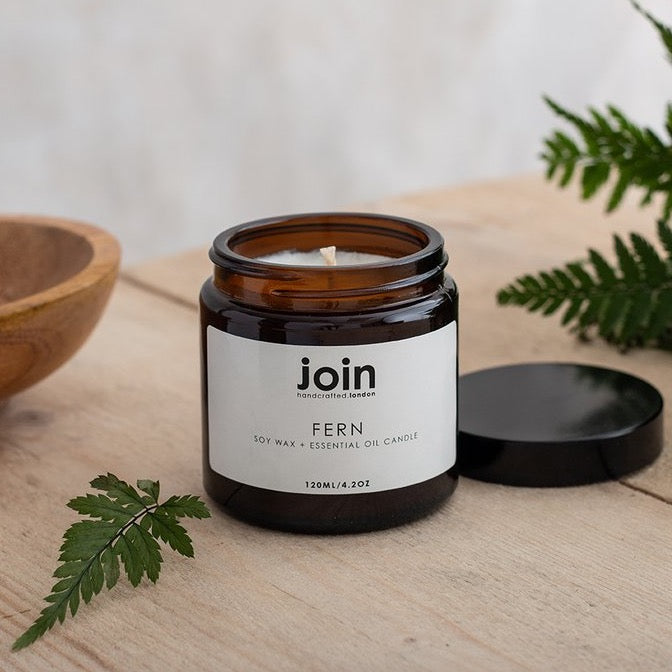 Join Luxury Scented Soy Wax + Essential Oil Candle, Fern
