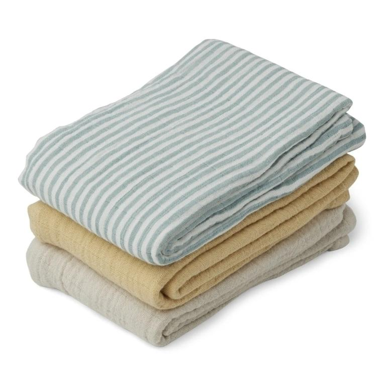 Liewood Line Muslin Cloth - Sea Blue Stripe Mix (3 pack)