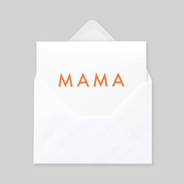 Mama Foil Blocked Card, Mama Print in Neon Orange/White