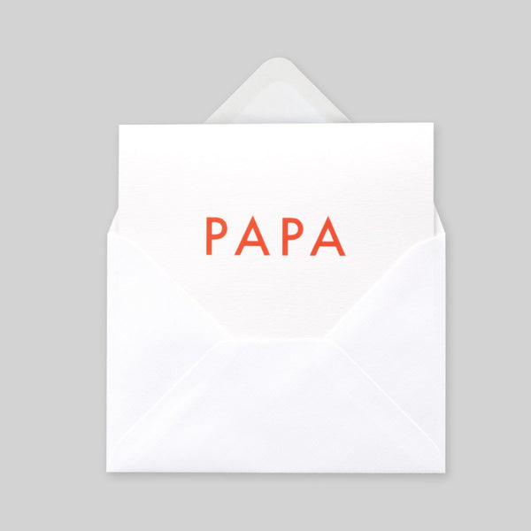 Ola Foil Blocked Card, Papa Print in Neon Orange/White