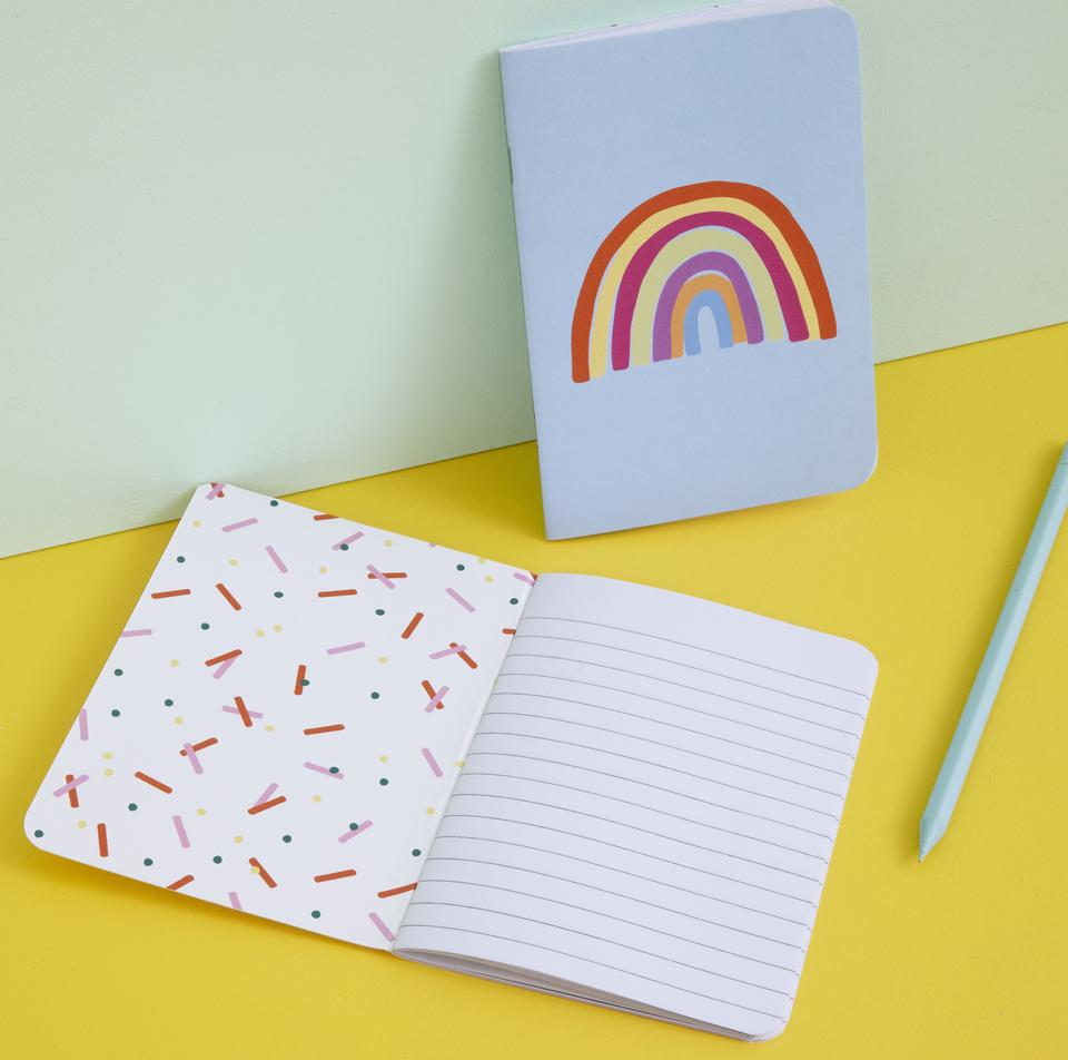 Raspberry Blossom, A6 Dinky Notebooks - Rainbow and Donut