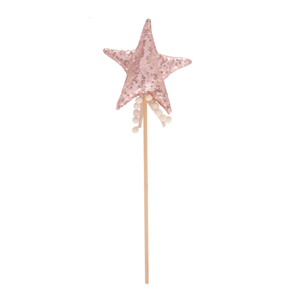 Fable Heart Rose Gold Pom Pom Wand