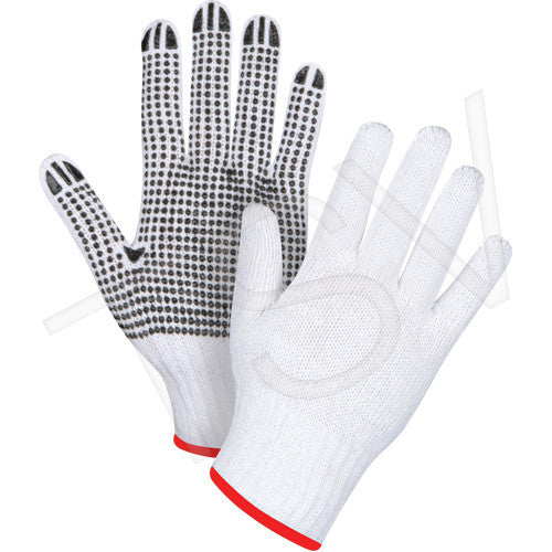 12 Pack XL White Poly/Cotton Dotted Gloves, One Side Dotted