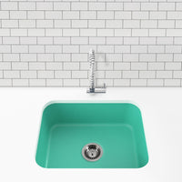 teal blue undermount kitchen sink